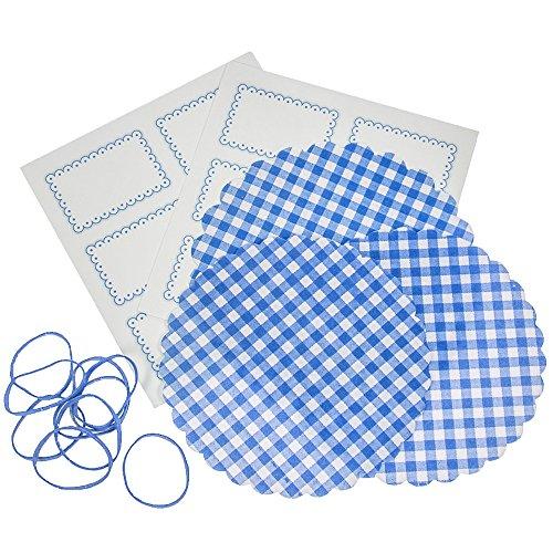 32-teiliges Marmeladendeckchen-Set 150 mm blau kariert mit 10 Vliesdeckchen, 10 Gummis und 12 Etiketten