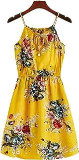 فستان كامي قصير مزين بالزهور ذاتي الربط للنساء