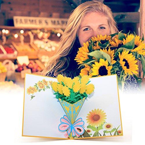 ひまわりの花束のグリーティングカードメッセージカード父の日カード誕生日カード感謝状サンフラワー封筒付き