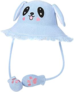 Leorealko Sun Protection Hat Sun Hat Fisherman Hat Straw Cap Controllable Airbag Cute Breathable for Children Kids Beach