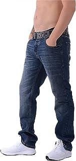 Crosshatch Mens WAK Dark Wash Jeans New Denim Straight Leg with Webbed Belt