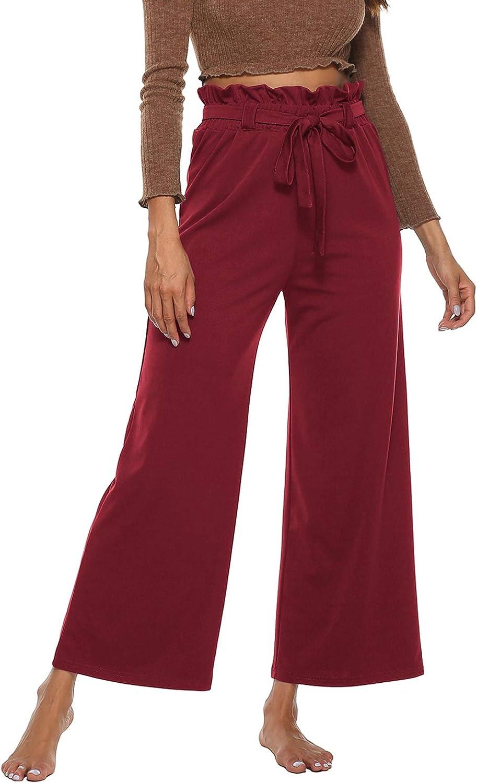 Lu's Chic Women's Paper Bag Waist Pants Wide Leg Casual Loose Cropped Boho Beach Pants