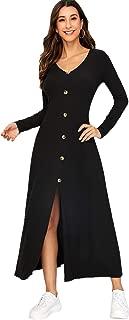 MAKEMECHIC Women Rib Knit Button Front V Neck Long Sleeve Split Maxi Dress