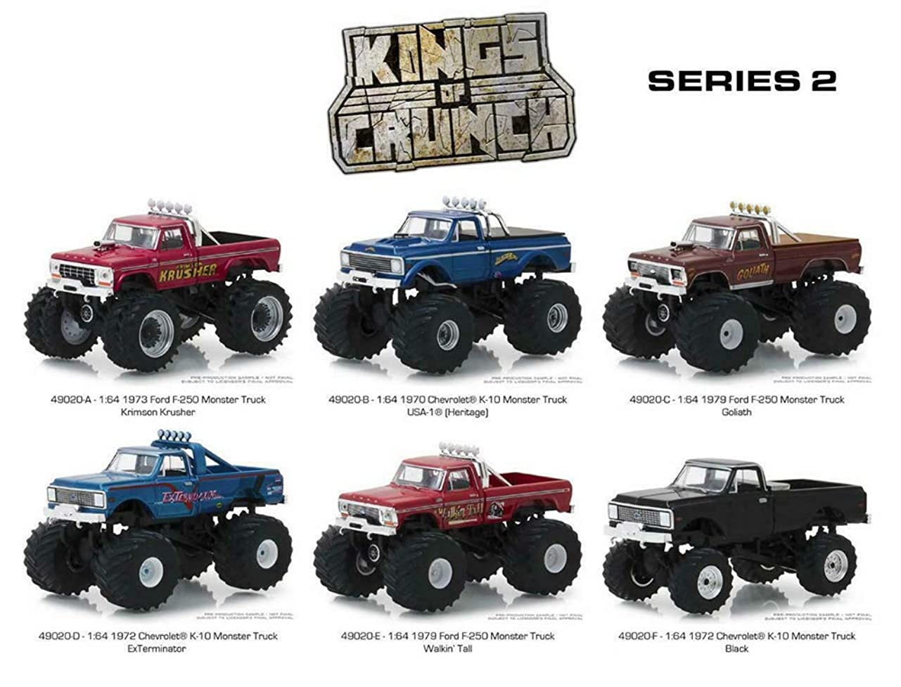 覚醒皿許容Greenlight 1/64 Kings of Crunch Series 2 (49020) - Includes All 6 Die-Cast Monster Trucks