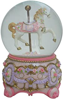 Lightahead Christmas Musical Carousel Horse 100MM Snow Globe Water Ball in Polyresin (Pink)