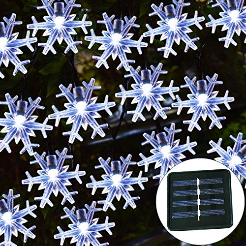 Windpnn Solar Christmas Lights Outdoor,50LED 30.6ft Waterproof Solar Christmas Snowflake String Lights for Christmas Tree, Party, Wedding, Fence, Patio Xmas Décor,(Cool White)