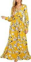 Ybenlow Womens Boho Floral Chiffon Deep V Neck Wrap Long Sleeve Flowy Party Maxi Dresses with Belt
