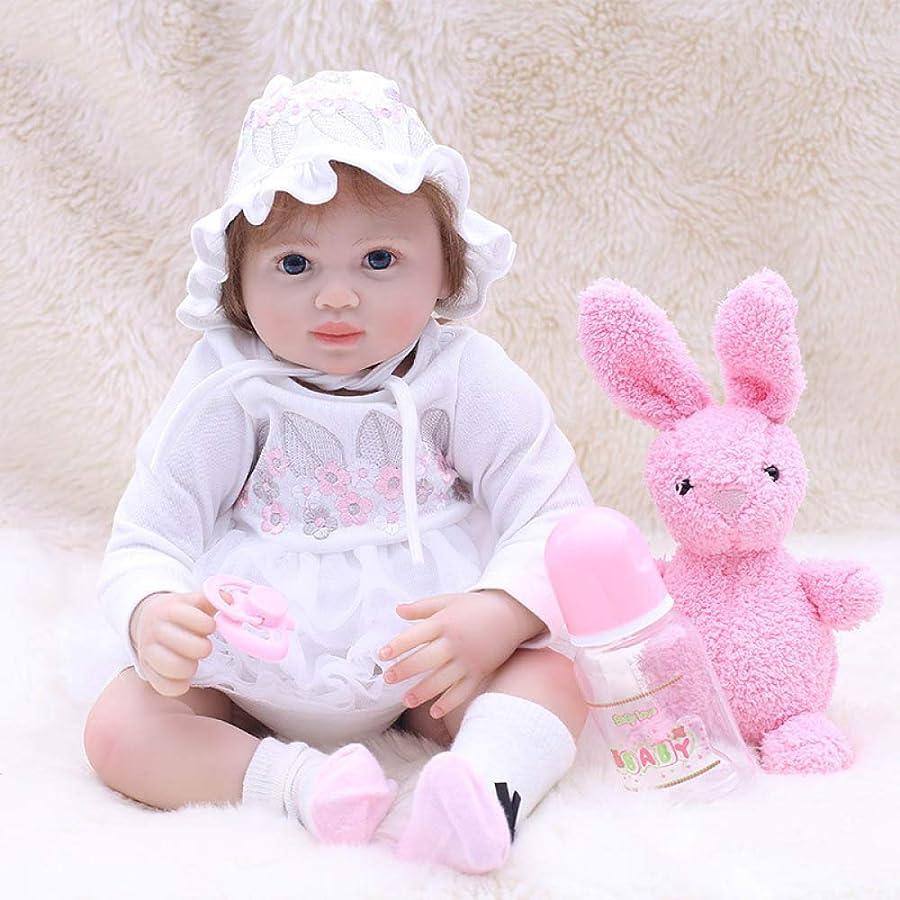 シンボル受付詳細に赤ちゃん人形リボーン人形50センチ20インチ幼児人形で白いドレスシミュレーションシリコーン人形玩具ラブリー新生児用女の子