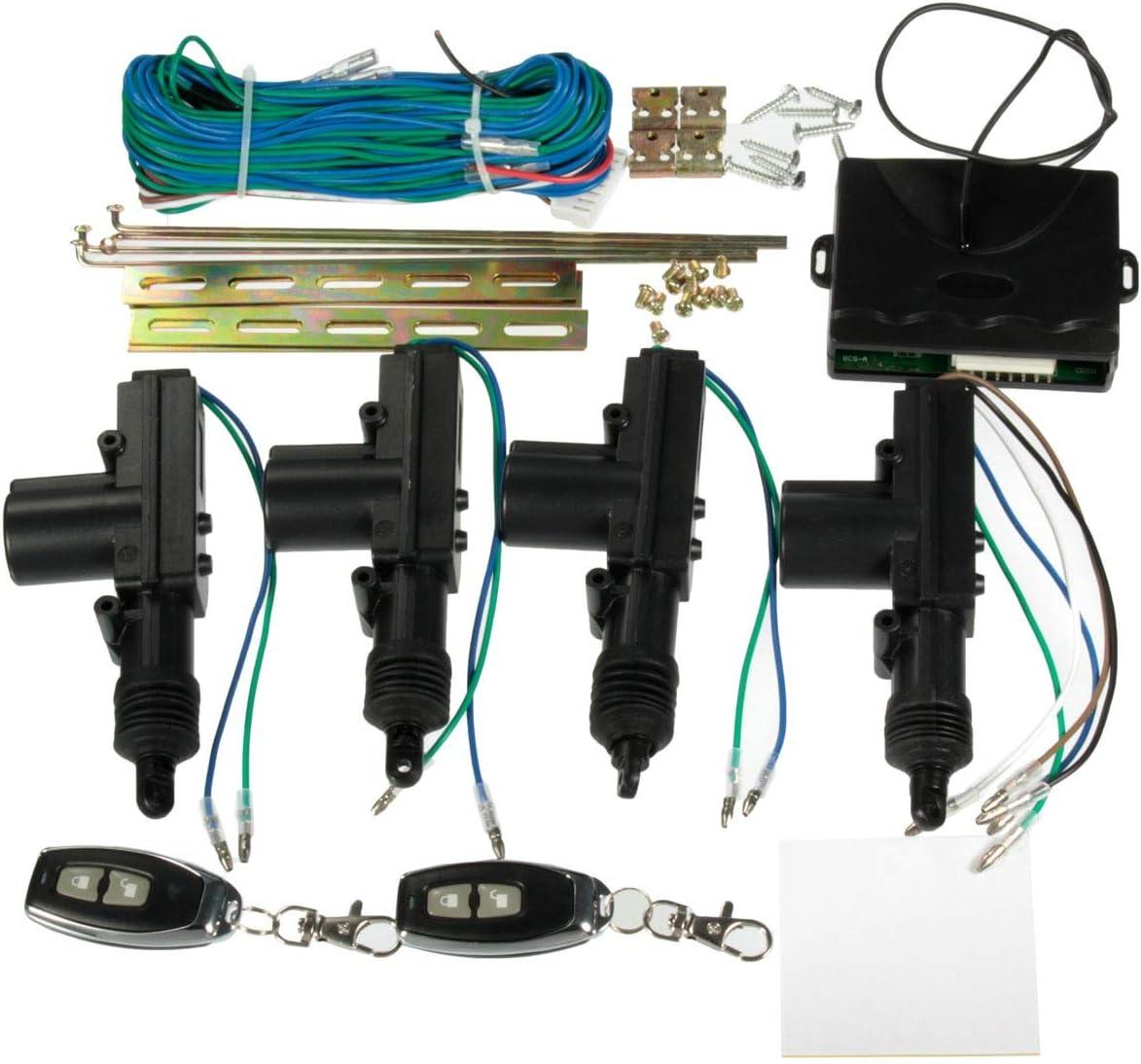 Alarma Coche Universal Atuo Car 2 puertas o 4 puertas Cerradura central de bloqueo Kit de sistema de entrada sin llave + 2 teclas remotas FOB Cierre Centralizado Universal Coche