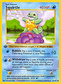 Pokemon - Squirtle - Basic 63/102 - Shadowless - 1st Edition