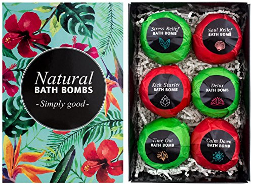 BRUBAKER Cosmetics 6er Set Badebomben'Jungle' - Handgemacht - Vegan - Glutenfrei - Parabenfrei - mit Avocadoöl, Zitronenöl