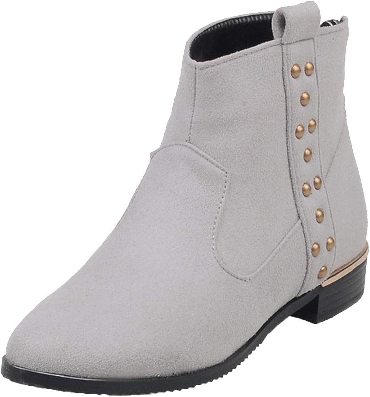 Vitalo Womens Flat Zip Ankle Boots Ladies Autumn Winter Short Booties
