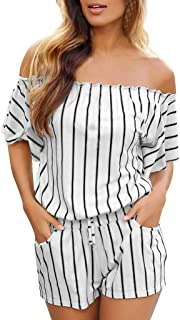 be8a339948fc LEERYAAY Fashion Womens Casual Short Sleeve Off Shoulder Stripe Jumpsuit  Short Romper