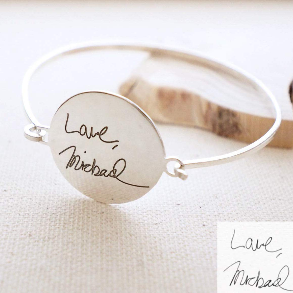 Los Angeles Mall Branded goods Actual Handwriting Disc Bangle Engraved