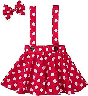Infant Baby Girl Polka Dots Tutu Toddler Fancy Mini Dress Suspender Skirt Hairbow Halloween Costume Outfit
