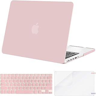 جراب بنمط بلاستيك من موسيسو وغطاء لوحة المفاتيح وواقي الشاشة متوافق فقط مع ماك بوك برو (دون USB- C)، رتينا، 13 إنش, روز كو...