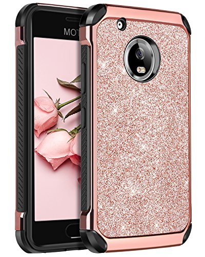 Moto G5 Plus Case,Moto G Plus (5th Generation) Case, BENTOBEN Glitter Faux Leather 2 in 1 Slim Hard Laminated with Luxury Shiny Chrome Shockproof Protective Case for Motorola Moto G5 Plus,Rose Gold