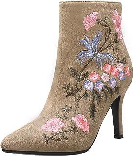 TAOFFEN Women Fashion Dress Booties Stiletto Heels Zipper