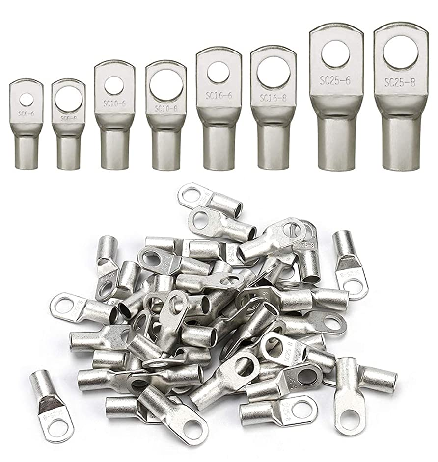 HOODDEAL 60pcs Bolt Hole Tinned Wire Crimp Copper Ring Marine Battery Lugs Set-Wire Connectors Open Barrel SC Cable Terminals kit
