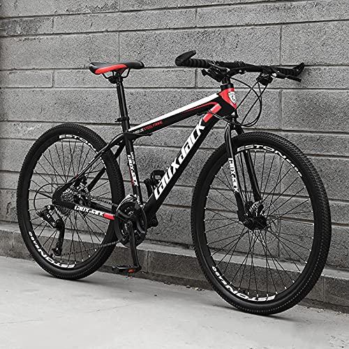 SHUI 26''Bicicleta Montaña MTB, 21/24/27 Velocidadesmarco De Acero Al Carbono De Alta Resistencia, Bicicleta De Montaña con Freno De Disco Doble para Hombres Y Mujeres, V Black-Red-24 Speed