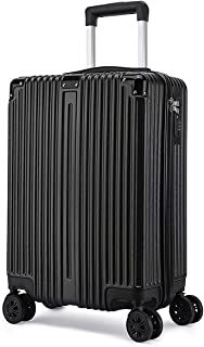 """SRY-Luggage ABS+PC Convenient Trolley Case,Super Storage Luggage Bag,Wheels Travel Rolling Boarding,20"""" 22"""" 24"""" 26"""" Durable Carry on Luggage (Color : Black, Size : 22inch)"""