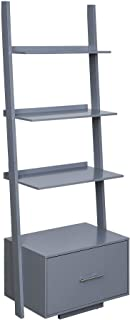 Convenience Concepts American Heritage Ladder File Drawer Bookcase, Gray