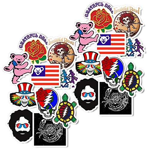 GTOTd Skull and Roses Stickers (20 pcs). Rock and Roll Music Stickers Vinyl Decals for Electric Guitar Bass Drum Laptop Skateboard(Steal Your Face Sticker )