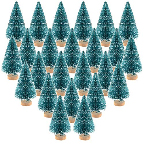 KUUQA 24Pcs Mini Sisal Trees Bottle Brush Trees Mini Pine Trees with Wood Base Snow Frosted Trees Winter Snow Ornaments Tabletop Trees for Christmas Decorations DIY Room Decor Diorama Models