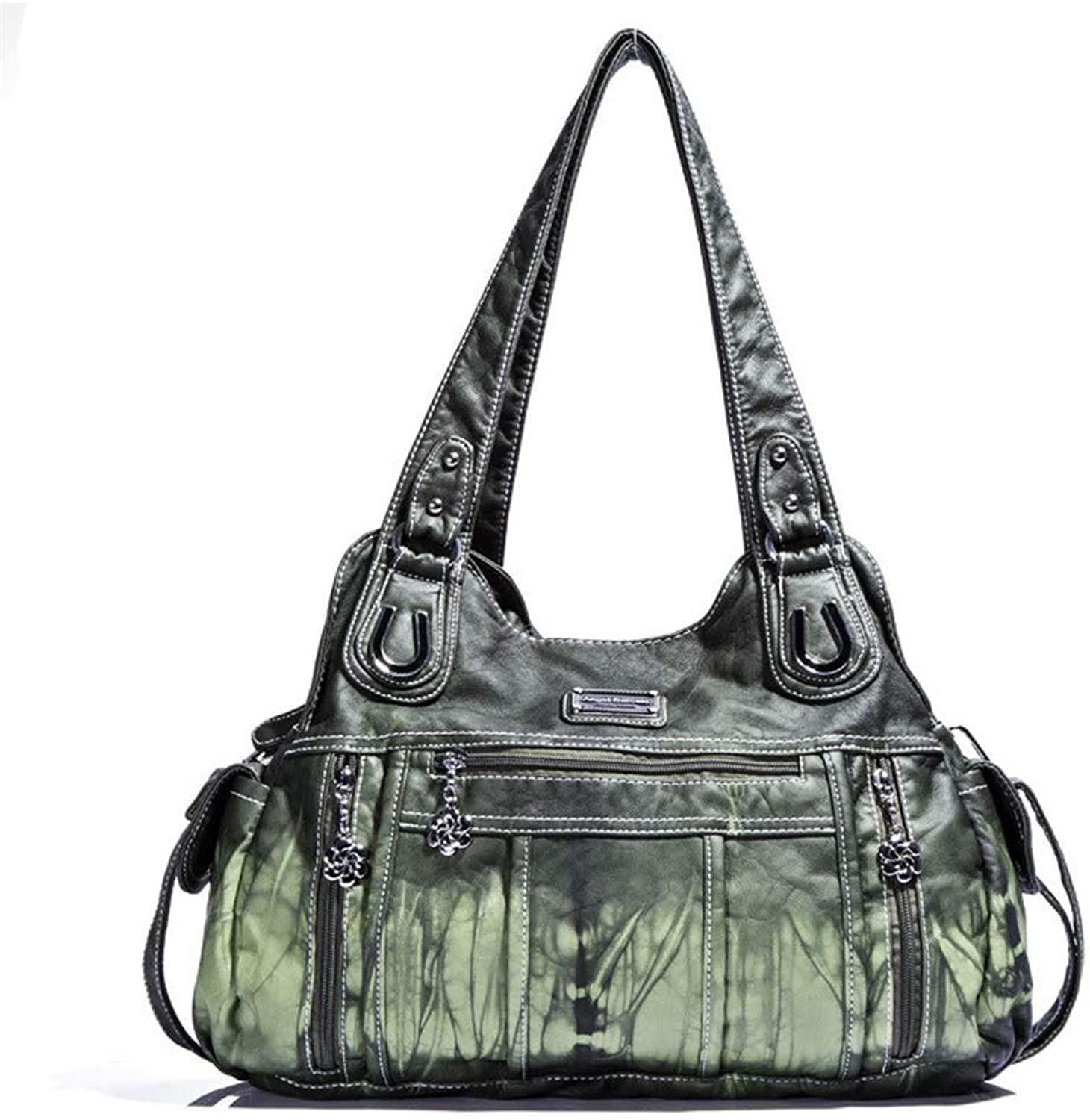 Sturdy New Women's Shoulder Handbag Solid color Fashion Trend Large Capacity Diagonal Package Large Capacity (color   Green)