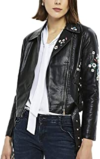 Howely Women's Classic Faux-Leather Embroidered Zip Up Short Motorcycle Jacket
