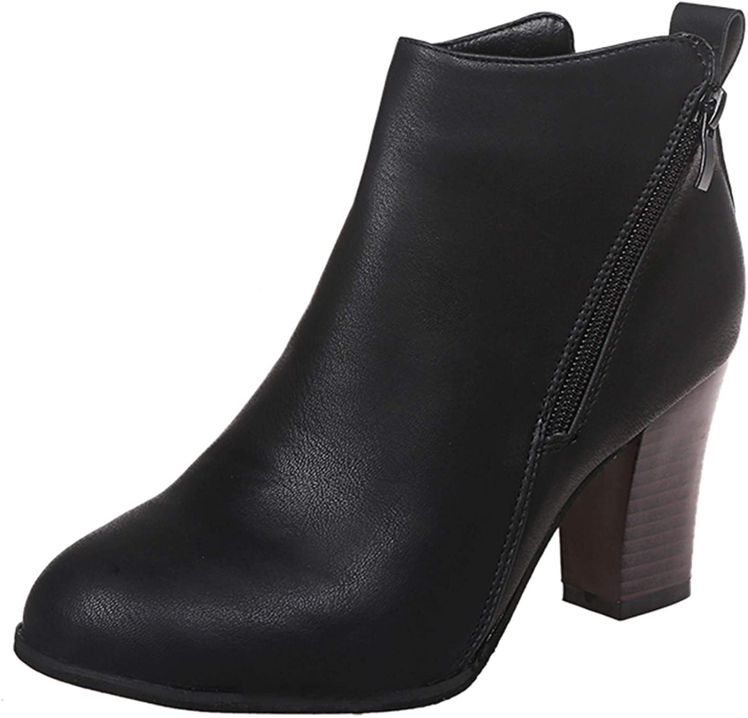 Boots For Women With Heel Round Toe Pu Calf Boots Classic Black Boots Chunky Heels High Heel Boots Womens Boots Ezeerae