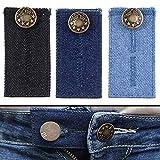 Extensor de Cintura para Jeans, Pantalones, vestidos y faldas, Juego de 3, Alargador Pantalones hasta 5 cm, Extensión de Cintura para Pantalones, Botón de extensión ajustable para Pantalones