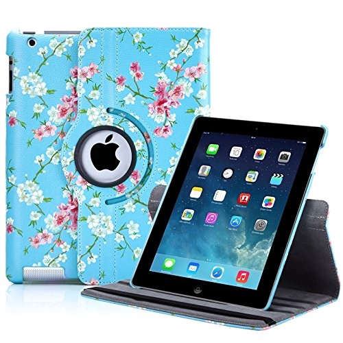 32nd Floral Series - Design PU Leather Book Folio Case Cover for Apple iPad 2, 3 & 4, Designer Flower Pattern Flip Case With Built In Stand - Spring Blue