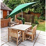 GlamHaus Garden Parasol Table Green Tilting Umbrella, UV 40+ Protection, Crank Handle 2.7m, Gardens and Patios (Green, Tilt)