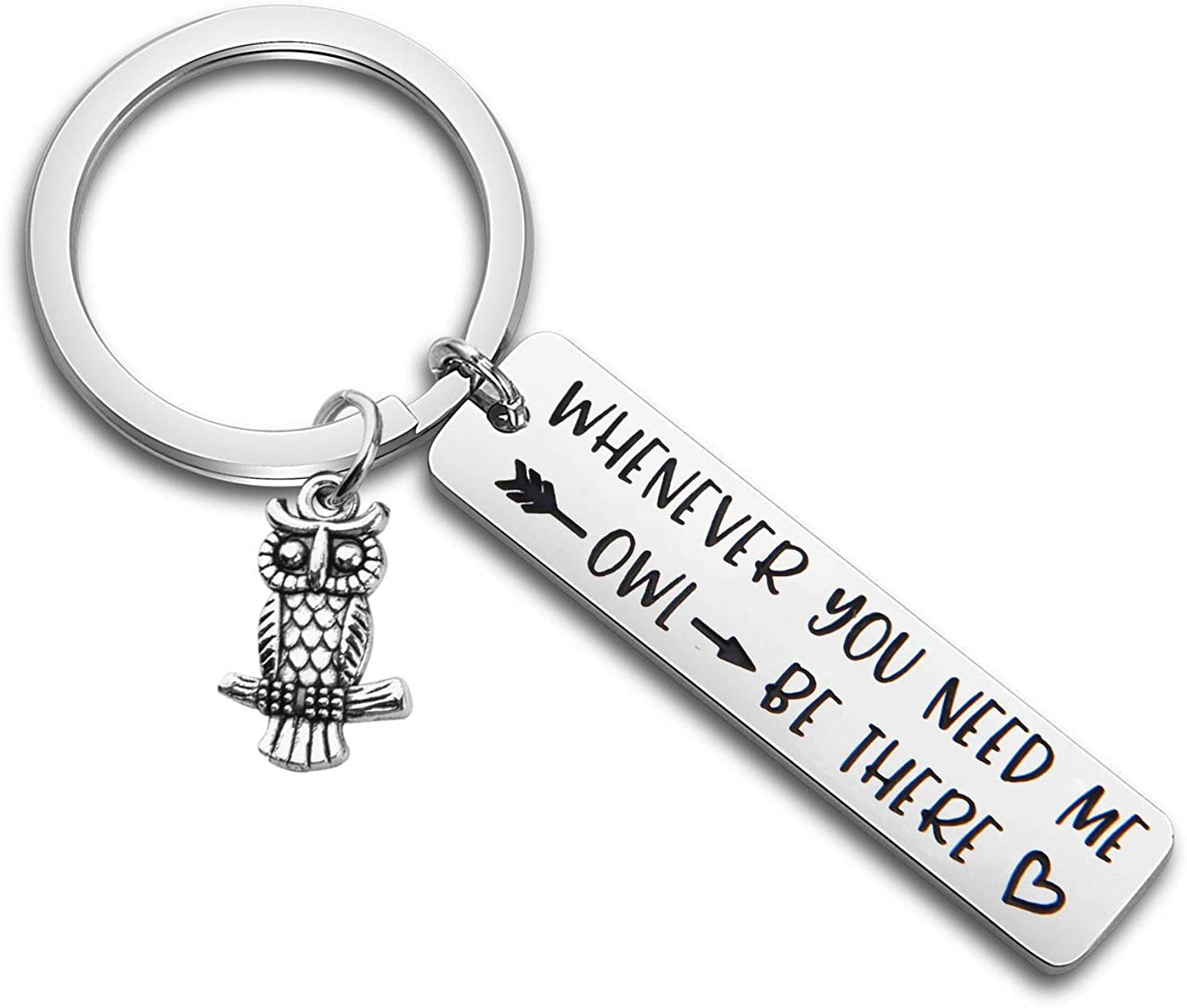 MAOFAED Owl Keychain BFF Keychain Friendship Keychain Whenever You Need Me Owl Be There Sympathy Gift Stay Strong Gift