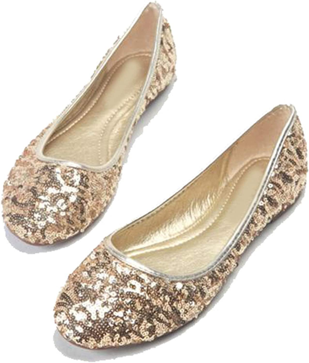 Awmerny Boots Womens Gliiter Sequined Flats Ladies Ballerina Flat shoes New