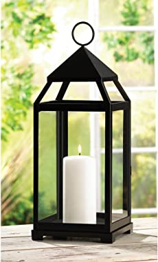 Candleholders Lanterns Large Sleek Contemporary Black Candle Lanterns Centerpieces 17 in. High