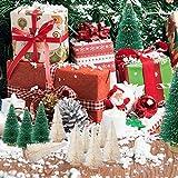 LOVEXIU Mini Weihnachtsbaum Deko,24 StüCk Miniatur Weihnachtsbaum KüNstlicher,Winter Ornamente Mini Modell Weihnachtsbaum Mini Tannenbaum füR Weihnachtsfeier Tischdeko,DIY,Schaufenster (GrüN/Weiss) - 2