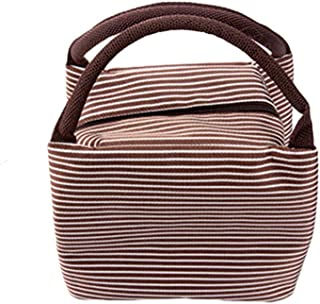 Niome Portable Insulated Thermal Waterproof Lunch Bag Striped Lunch Box Bag Tote Picnic Case Storager Food Picnic Bag Brown
