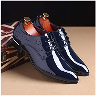 LUKEEXIN Bright Leather Men's Shoes, Leather Shoes, Pointed Toe Shoes