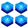 WONFAST Solar Glass Brick Lights, Ice Cube Lights Solar Landscape Light Buried LED Frost Glass Path Lights for Garden, Outdoor Decoration Waterproof 4-Pack (Blue)