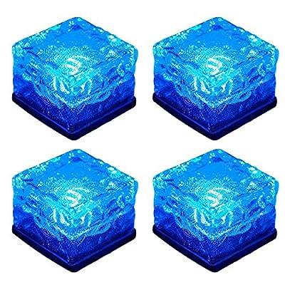 WONFAST Solar Glass Brick Lights, Ice Cube Lights Solar Landscape Light Buried LED Frost Glass Path Lights for Garden, Outdoor Decoration Waterproof 4-Pack (Blue)