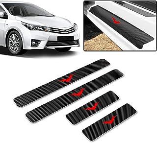 N//A 4 Pezzi Car Battitacco Protezione Fibra di Carbonio Soglia della Porta per Renault Scenic Auto Portiera Scuff Guard Plate Sill Esterno Adesivi Davanzale Accessori Styling
