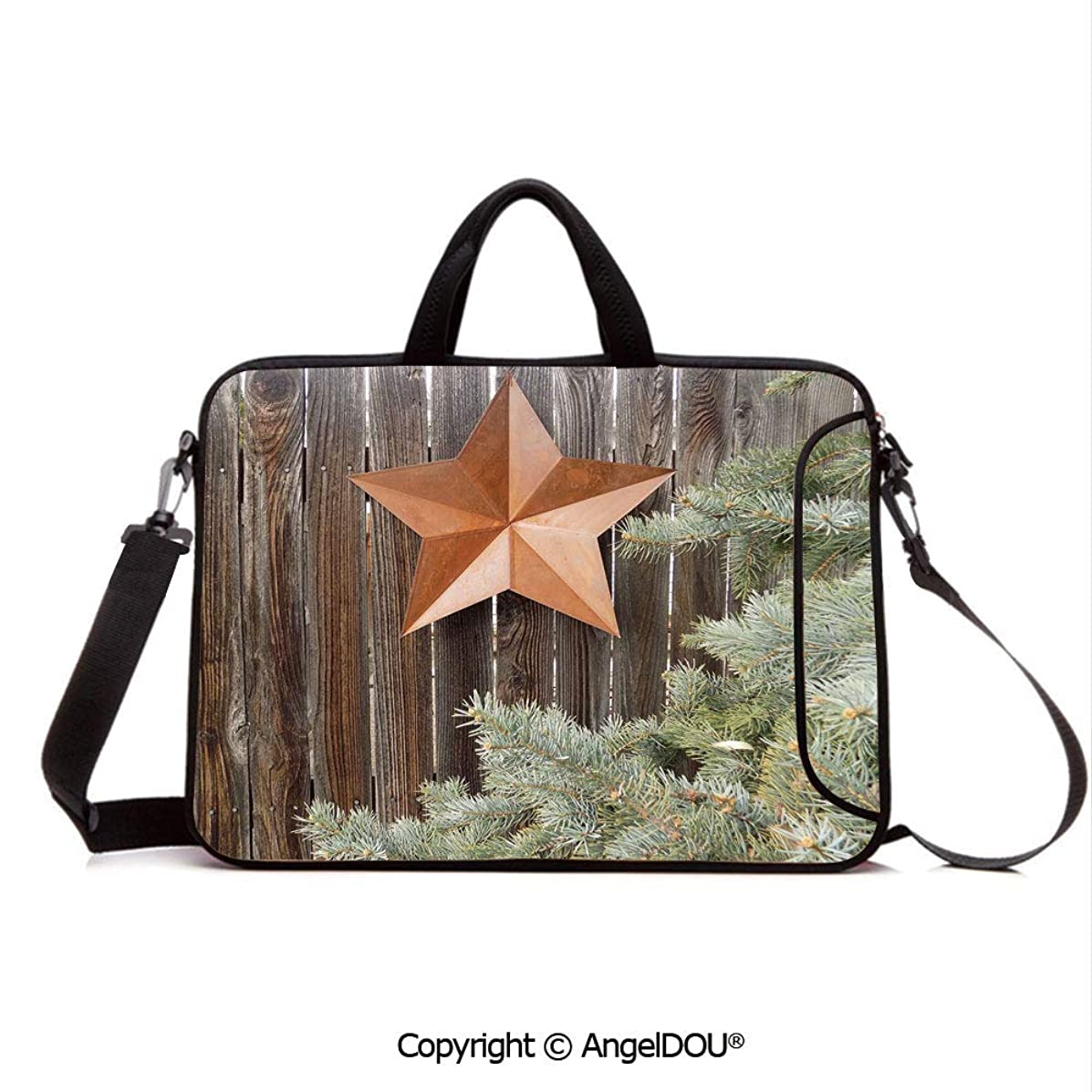 AngelDOU Laptop Shoulder Bag Waterproof Neoprene Computer Case Big Orange Star on Rough Wood Fences Pine Branches Print Decorative with Handle Adjustable Shoulder Strap and External Side Pocket Oran