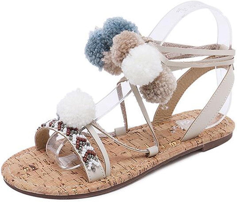Giles Jones Flip Flops Flat Sandals for Women,Bohemia Beaded Pompom Lace Up Open Toe Beach shoes