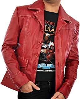 New York Fight Club Brad Pitt Red Leather Coat Jacket