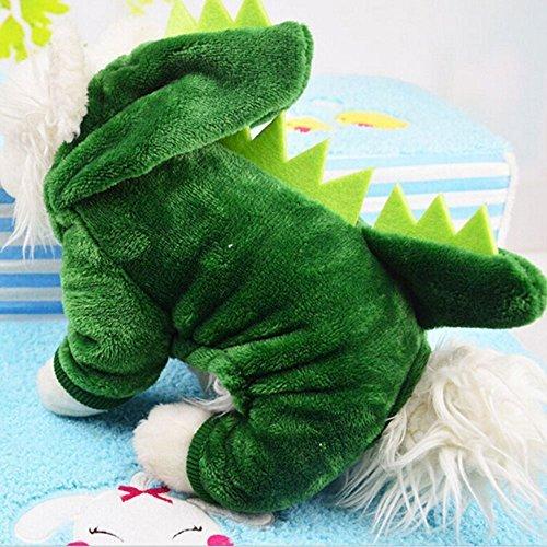 恐竜 犬服 小型犬 仮装 着ぐるみ もこもこ つなぎ カバーオール ドッグウエア S M L LP-08fb (S)