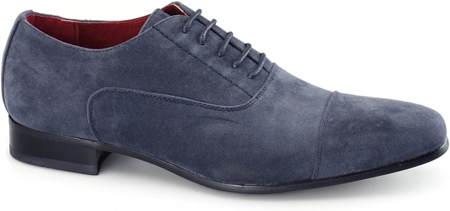 Rossellini Shuperb Mario Mens Faux Suede Oxford shoes bluee