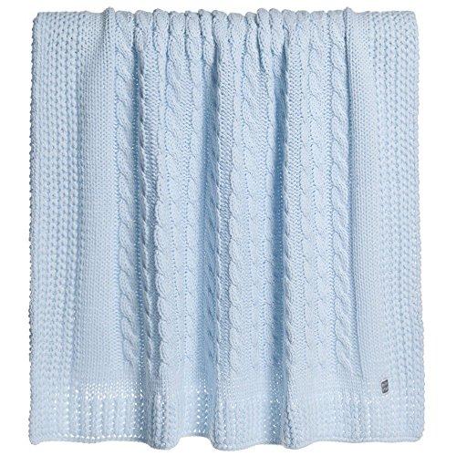 Minutus Manta Punto Chero, trenzas 100% Dralón (Lana bebe), 100 Cm, color Azul celeste