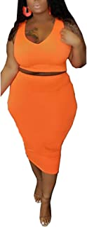 Womens Sexy Plus Size 2 Piece Midi Dress Outfits - Sleeveless Solid Color Tank Crop Top Bodycon Skirts Set